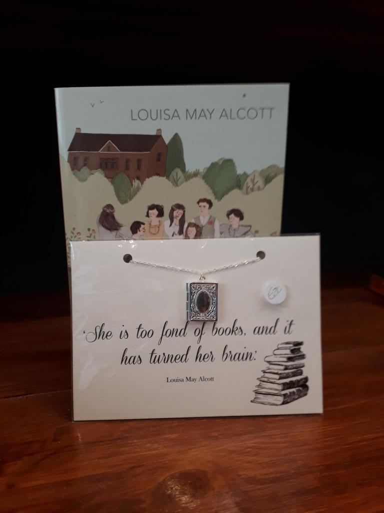 Little women love little books. Louisa May Alcott silver plated locket on a silver plate chain. 20 euro