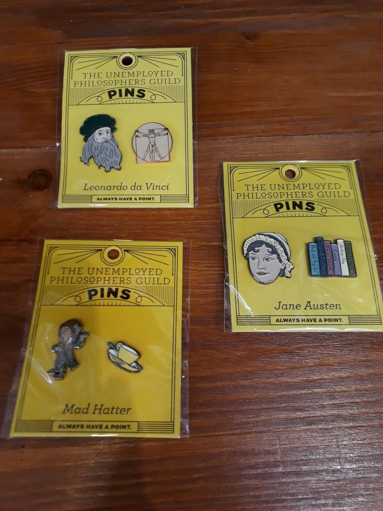 Leonardo, Jane Austen and Alice in Wonderland enamel pin sets 14 euro each